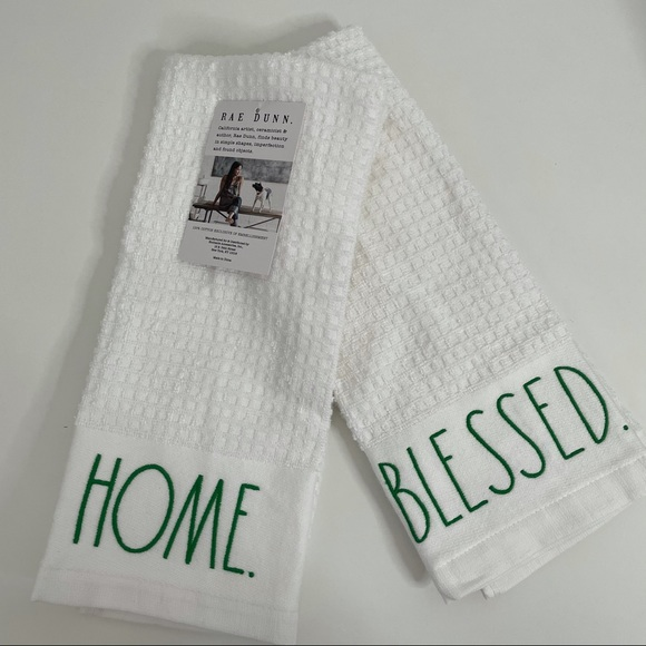 Rae Dunn BLESSED. HOME. Kitchen Towels Set
